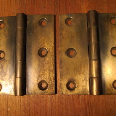 Early Brass Butt Hinges 3 x 2-1/2