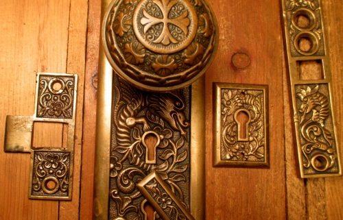 Bronze Entry Door Knob Door Plate