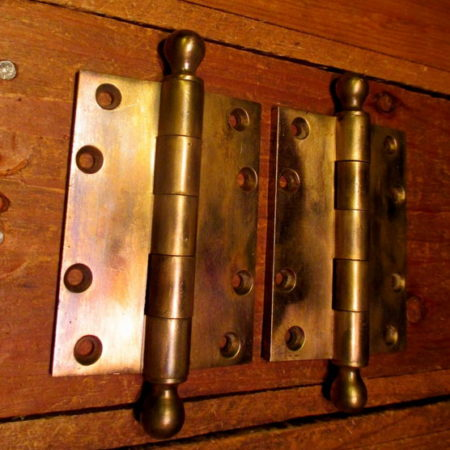 "Brass Ball Top Hinges 3"" x 4"""